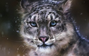 snow leopards, digital art, artwork, leopard, animals
