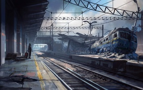 artwork, fantasy art, apocalyptic, train, train station