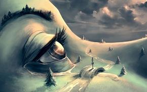 AquaSixio, hill, girl, artwork, fantasy art, surreal