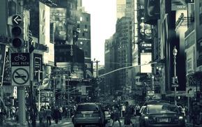 crowds, street, road sign, building, car, billboards