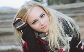 actress, face, blonde, sweater, girl outdoors, AnnaSophia Robb