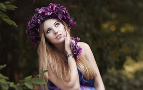 bare shoulders, trees, long hair, wreaths, open mouth, flowers
