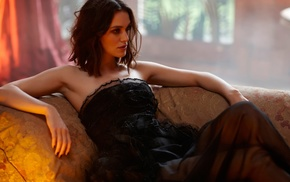 brunette, bare shoulders, depth of field, actress, Keira Knightley, dress