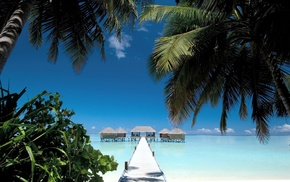 walkway, beach, summer, sea, sky, cabin