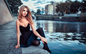 tights, bare shoulders, black dress, riverside, blonde, dress