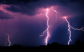 night, lightning, nature, clouds