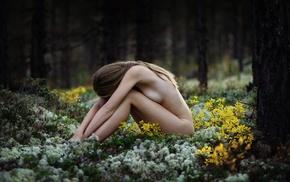 nature, girl outdoors, brunette, strategic covering, flowers, model