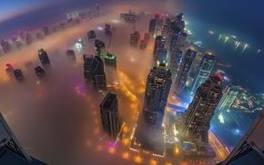 city, skyscraper, cityscape, mist, aerial view, smog