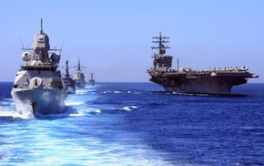 fleet, aircraft carrier, sea, HNLMS De Zeven Provincin F802, United States Navy, Royal Netherlands Navy