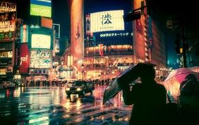 night, Japan, rain, street light, city