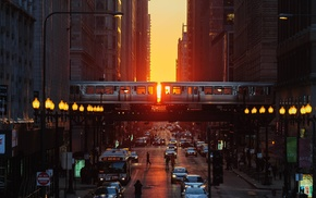 metro, Chicago, sunset, Illinois, car, street