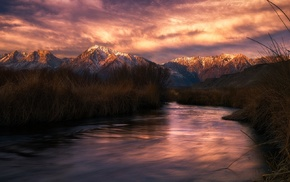 clouds, California, sunset, mountain, nature, river