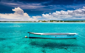 sky, water, beach, island, boat, clouds