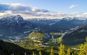 sunset, mountain, Banff National Park, clouds, town, Canada