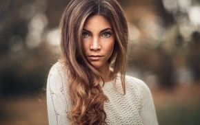 brunette, depth of field, girl, model, portrait, freckles
