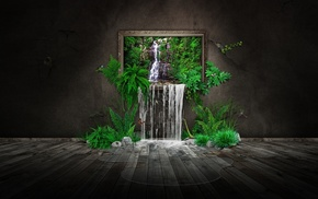 water, puddle, CGI, ferns, minimalism, digital art