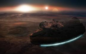 space, Millennium Falcon, Sun, lights, planet, universe