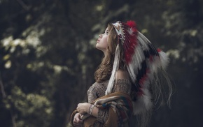 brunette, looking up, Native American clothing, girl outdoors, trees, girl