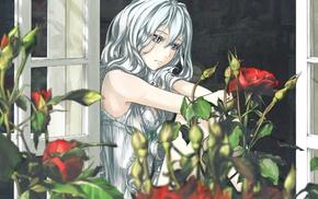 white hair, anime girls, rose, original characters