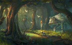 forest, wolf, fantasy art
