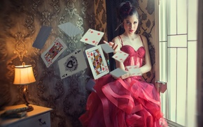 Ace of Spades, red dress, room, playing cards, photography