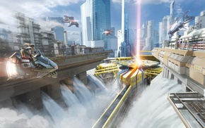 city, artwork, fantasy art, futuristic
