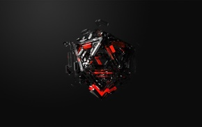 black, cube, CGI, red