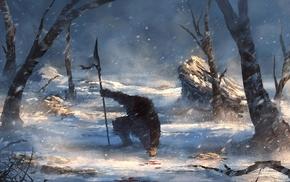 fantasy art, winter, spear, warrior