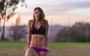 sports bra, sunset, girl, girl outdoors, Tianna Gregory, sports