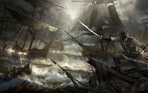 fantasy art, artwork, ocean battle