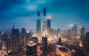 city lights, city, skyscraper, night, Shanghai