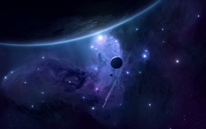 moon, purple, blue, stars, planet, render