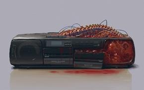 simple background, spine, cassette, radio, vintage, blood