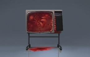 digital art, simple background, television sets, blood, TV, vintage