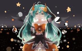 anime girls, Halloween, Vocaloid, Hatsune Miku, twintails