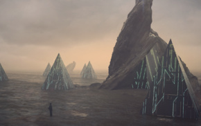 Beacon, futuristic, pyramid, science fiction, loneliness, alone
