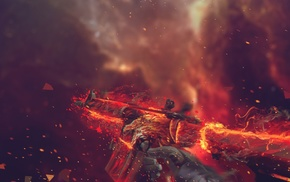 artwork, Counter, Strike Global Offensive, digital art, fire, weapon