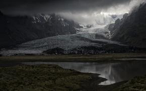 sunrise, mountain, landscape, glaciers, fjord, sunlight