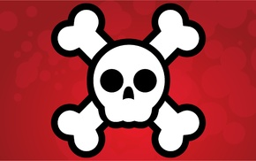 vector art, vectors, skull and bones, red background