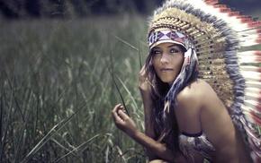 grass, field, girl, face, brunette, bare shoulders