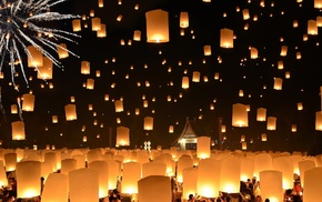 night, candles, house, floating, people, Lantern Festival