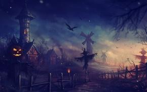 pumpkin, Halloween, fantasy art, artwork