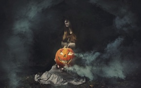 pumpkin, Halloween, fantasy art, artwork, girl