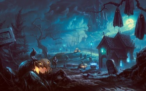Halloween, forest, artwork, pumpkin, fantasy art