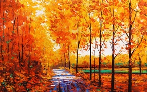 oil painting, fall, painting, trees, stream, forest