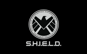 comic books, simple background, S.H.I.E.L.D., Marvel Comics