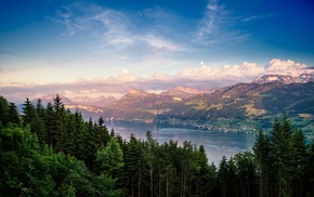 nature, city, clouds, Switzerland, trees, summer