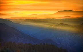 sun rays, mountain, sunset, sky, Yosemite National Park, nature