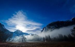 landscape, mist, sky, stars, nature, trees