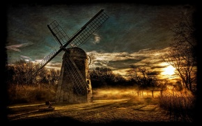 mist, HDR, shrubs, landscape, sky, sunset